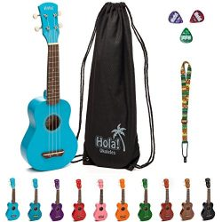 Hola! Music HM-21LB Soprano Ukulele Bundle with Canvas Tote Bag, Strap and Picks, Color Series & ...