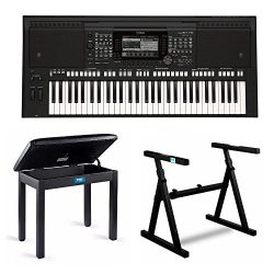 Yamaha PSR-S775 61-Key Digital Arranger Workstation Keyboard with Knox Z Style Stand & Piano ...