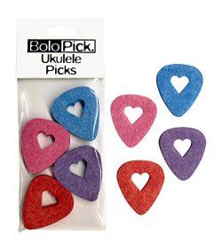 BoloPick Felt Ukulele Picks (8), with Easy to Hold Cutout Heart, for Ukulele (8 Pack, Original)
