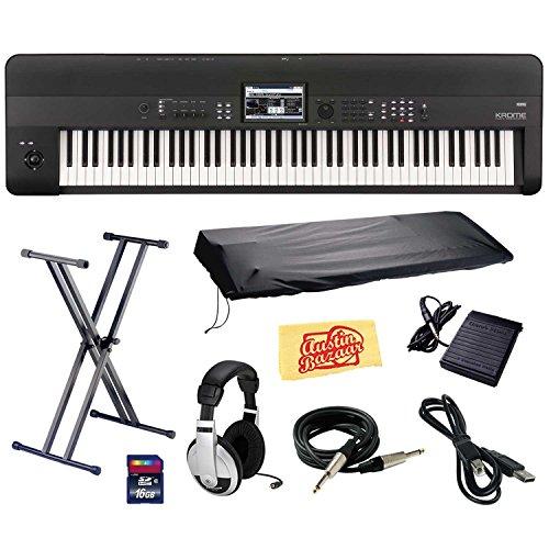 Korg KROME 88-Key Music Workstation Keyboard & Synthesizer Bundle with Keyboard Stand, SD Ca ...