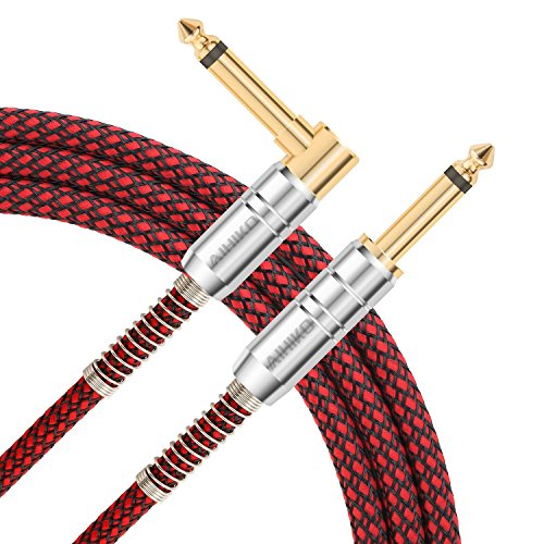 AIHIKO 10ft Guitar Cable 6.35mm Premium Electric Instrument Bass AMP Cord 1/4 Right Angle to Str ...