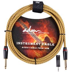 ADM 10FT 3M Straight to Straight Noiseless Musical Instruments Electric Guitar & Bass Cable, ...
