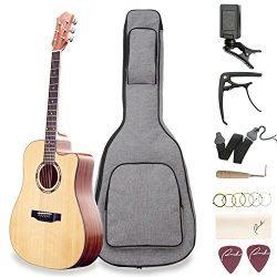 Acoustic Guitar Ranch 41″ Full Size Cutaway Beginners Wooden Guitars Kit Bundle with Gig B ...