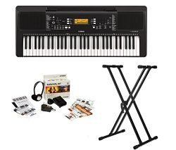 Yamaha PSRE363 61-Key Portable Keyboard with Survivalkit and Knox Double X Stand