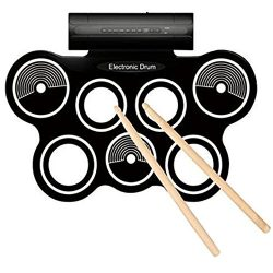 AMAZING Electronic Drum Mat, Includes: 2 Foot Pedals, Built In Speakers, 2 Drumsticks, 12 Demo S ...