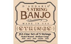 D'Addario J61 5-String Banjo Strings, Nickel, Medium, 10-23
