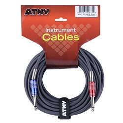 ATNY GC-15GR Guitar Cable 15 ft, Premium Electric Instrument Bass Cable AMP Cord 1/4 Straight to ...