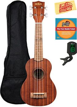Kala KA-15S Mahogany Soprano Ukulele Bundle with Gig Bag, Tuner, Austin Bazaar Instructional DVD ...