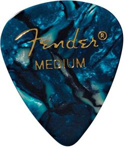 Fender 351 Shape Classic Medium Celluloid Picks, 12 Pack, Ocean Turquoise for electric guitar, a ...
