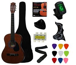 YMC 38″ Coffee Beginner Acoustic Guitar Starter Package Student Guitar With Gig Bag,Strap, ...