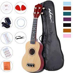 ADM Beginner Ukulele 21 Inch Soprano Wood Starter Pack Bundle with Teaching CD Gig bag Tuner Fin ...