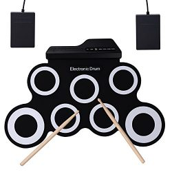 CAHAYA Electronic Drum Roll-Up with 2 Foot Pedals and 2 Drum Sticks Foldable for Kids and Drum B ...
