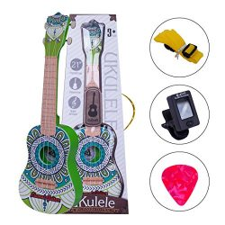 Soprano Ukulele Set for Kids Green Ukulele Beginner Kit with Tuner Pick Strap Kids Guitar