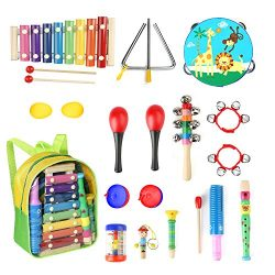 Toddle Musical Instruments- Eyssen 13 Types 17 pcs Percussion Instruments Toy for Toddles &  ...