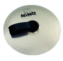 Nino Percussion NINO-NS305 12-Inch Marching Cymbal with Holding Strap, Nickel Silver