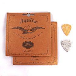 2-Pack Aquila New Nylgut 10U Tenor Ukulele Strings 26 inch Regular High G with 2 Free Felt Picks