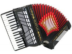 D'Luca D3472-BK Grand Piano Accordion 5 Switches 34 Keys 72 Bass with Case and Straps, Black