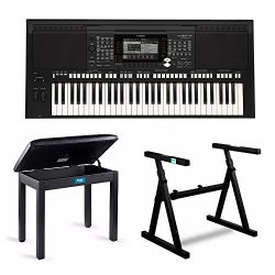 Yamaha PSR-S975 61-Key Digital Arranger Workstation Keyboard with Knox Z Style Stand & Piano ...