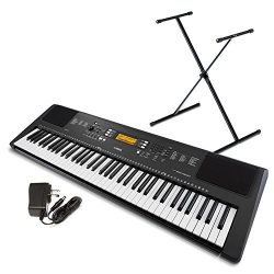 Yamaha PSREW300SA 76-Key Portable Keyboard Bundle with Stand and Power Supply
