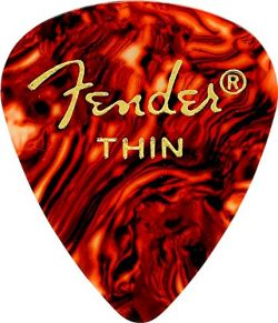 Fender 351 Shape Classic Thin Celluloid Picks, 12 Pack, Shell for electric guitar, acoustic guit ...