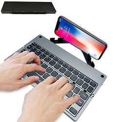 Portable Bluetooth Keyboard for Iphone,Wireless Ipad Folding Keyboard With Stand for Laptop Andr ...