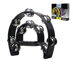 YMC TAM20-BLACK Double Row Tambourine – Metal Jingles Hand Held Percussion Ergonomic Handle