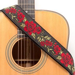 CLOUDMUSIC Guitar Strap Jacquard Weave Strap With Leather Ends Vintage Classical Pattern Design  ...