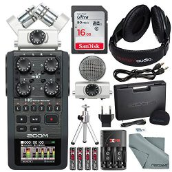 Zoom H6 Six-Track Portable Recorder with Interchangeable Microphone System with Deluxe Accessory ...
