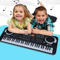 Kids Piano Keyboard 61 Key Multi-Function Portable Electronic Digital Piano with Microphone Elec ...