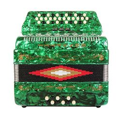 Rossetti 34 Button Accordion 12 Bass 3 Switches FBE Green