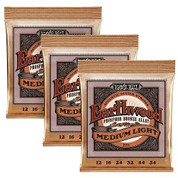 Ernie Ball 3446 Phosphor Bronze Acoustic Guitar Strings Pack of 3, Custom