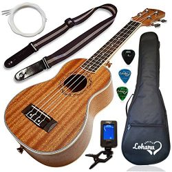 Ukulele Soprano Size Bundle From Lohanu (LU-S) 2 Strap Pins Installed FREE Uke Strap Case Tuner  ...