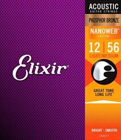 Elixir Strings Phosphor Bronze Acoustic Guitar Strings w NANOWEB Coating, Light/Medium (.012-.056)