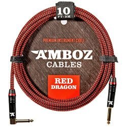Red Dragon Guitar Cable – Sturdy & Ultra Flexible Instrument Cable For Electric &  ...