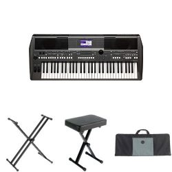 Yamaha PSR-S670 61-Key Arranger Workstation with Yamaha Stand, Bench, and Case