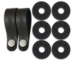 TimbreGear Premium Guitar Strap Locks (3 Pairs) + Genuine Leather Guitar Strap Button (2 PACK) S ...