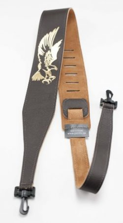 Perris Leathers P25EBJBR-106 2.5-Inch Brown Leather Embosed Banjo Strap