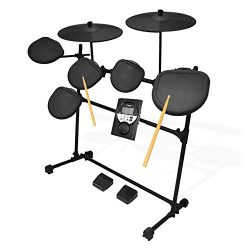 Pyle Pro 9 Piece Electronic Drums Set – Electric Drum Kit with 5 Drum Pad Heads, 2 Cymbal  ...