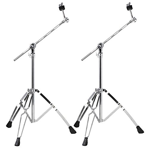 Topeakmart 2 Pack Boom Cymbal Stand Drum Hardware Percussion Double Braced Tripod Holder