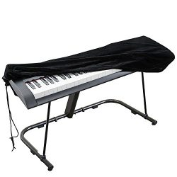 Piano Keyboard Cover, Stretchable Velvet Dust Cover with Adjustable Elastic Cord and Locking Cla ...