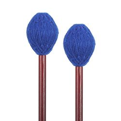Frienda 1 Pair Medium Hard Yarn Head Keyboard Marimba Mallets with Maple Handles, Blue