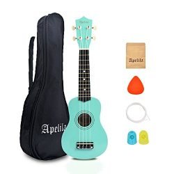 Apelila 21 inch Soprano Ukulele Acoustic Mini Guitar Musical Instrument with Bag, Pick, Strings, ...