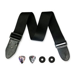 Black Solid 2″ Guitar Strap Bundle Includes 2 Strap Locks & 2 Unique Picks. Adjustable ...