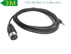 5-Pin DIN-Male Cable, 5 Pin Din MIDI Plug To 3.5mm(1/8in) TRS Stereo Male Jack Stereo Audio Cabl ...