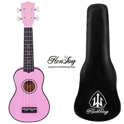 Honsing Soprano Ukulele for beginner Basswood 21 inches ukulele with case-Pink ukulele matte finish