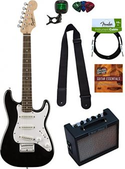 Squier by Fender Mini Strat Electric Guitar – Black Bundle with Amplifier, Instrument Cabl ...
