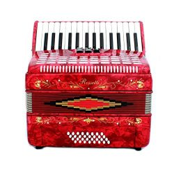 Rossetti Piano Accordion 32 Bass 30 Piano Keys 3 Switches Red