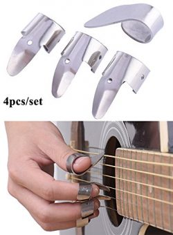 SHZONS 3 Metal Finger Picks + 1 Thumb Pick Set Guitar Fingerpicks For Guitar Dobro Banjo,etc.