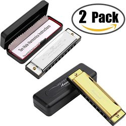 Harmonica for Kids, Anwenk 2Pack Harmonica Key of C 10 Hole 20 Tone Diatonic Harmonica C with Ca ...