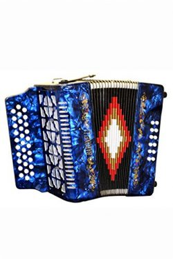 Full Size 31 Button Blue Diatonic Accordion Key of SOL G,C,F, with Hardshell Case and Back Strap ...